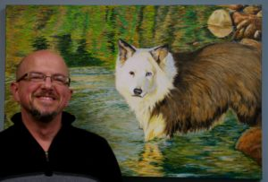 Artist Michael J Martin with Pet Portrait - SHELBY Oct 2014